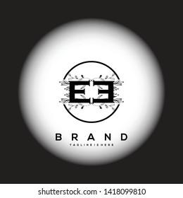 Flower initial Letter EE Logo design - Vector