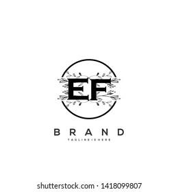 Flower initial Letter EF Logo design - Vector