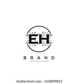 Flower initial Letter EH Logo design - Vector