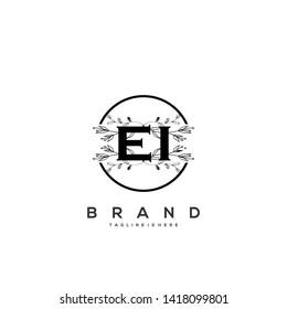 Flower initial Letter EI Logo design - Vector