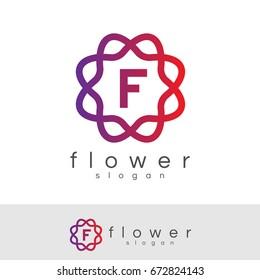 flower initial Letter F Logo design