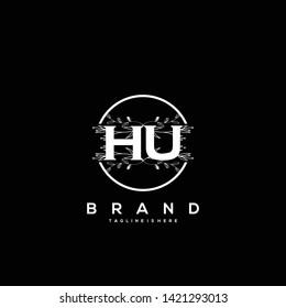 Flower initial Letter HU Logo design - Vector