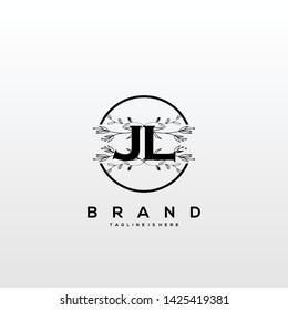 Flower initial Letter JL Logo design - Vector