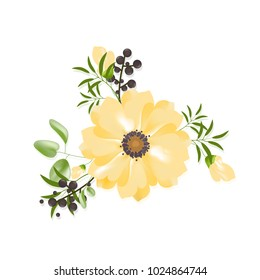 Flower isolated on white background.Modern design for t-shirt,print material,cloth and textile.Useful for invite and wedding card,wallpaper,poster,greeting card.Creative trendy art,vector illustration