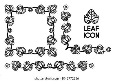 Flower ivy leaf curl border isolated vector, black leaves flora vintage frame, floral foliage outline contour, stalk icon silhouette element.