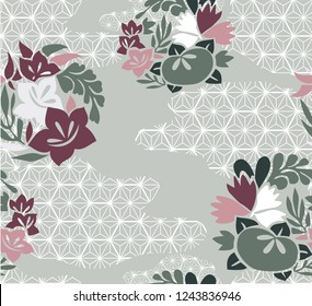 Flower and Japanese pattern background. Grey and pink Floral template vector.