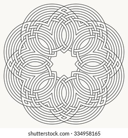 Flower knot, mandala, celtic motif, geometric ornament, vector illustration
