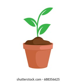 flower leaf plant pot vector