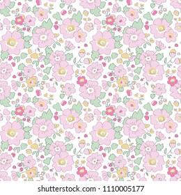 Flower liberty seamless pattern baby pink