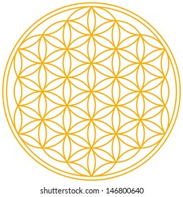 Flower of Life - A geomtrical figure, composed of multiple evenly-spaced, overlapping circles. A symbol since ancient times, forming a flower-like pattern with the symmetrical structure of a hexagon.