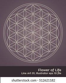 Flower of Life - intersecting circles forming the Flower of life, buddhism chakra vector illustration