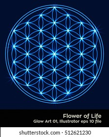 Flower of Life - intersecting circles forming the Flower of life, buddhism chakra vector illustration - Glowing