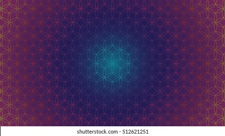 Flower of Life - intersecting circles forming the Flower of life, buddhism chakra vector illustration - Background