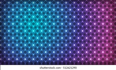 Flower of Life - intersecting circles forming the Flower of life, buddhism chakra vector illustration - Spectrum Colors Background