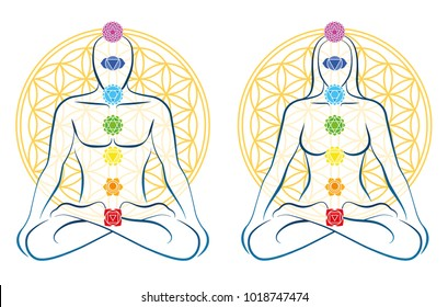 Flower of life. Meditating couple in yoga position. Man and woman each with seven main chakras.