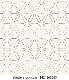 Flower of life running stitch embroidery  pattern. Simple needlework seamless vector background. Hand drawn geometric floral textile print. Ecru cream handicraft home decor. Monochrome sashiko style.
