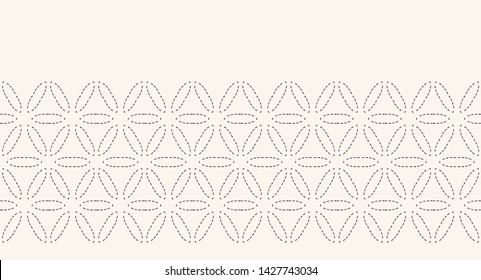 Flower of life running stitch embroidery border pattern. Simple needlework seamless vector background. Hand drawn geometric floral textile trim edge. Ecru cream home decor. Monochrome sashiko style.