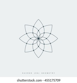 flower of life sacred geometry. lotus flower mandala ornament. esoteric or spiritual symbol isolated on white background vector illustration