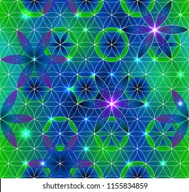 Flower of Life. Sacred geometry. Seamless pattern. Green and purple. Luminous points