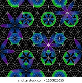 Flower of Life. Sacred geometry. Seamless pattern. Green and purple. Luminous points. Black background