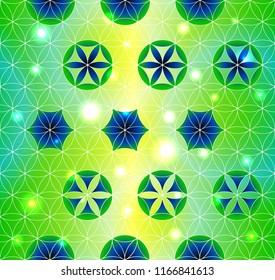 Flower of Life. Sacred geometry. Seamless pattern. Green and purple. Luminous