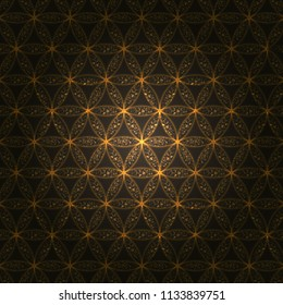 Flower of life. Sacred geometry, vector spiritual symbol. Gold neon vector background.