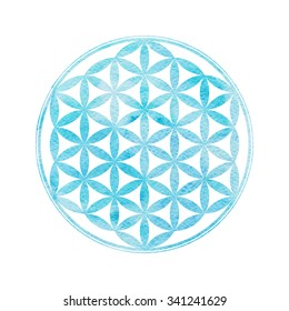 Flower Of Life. Sacred geometry. Vector element with watercolor texture