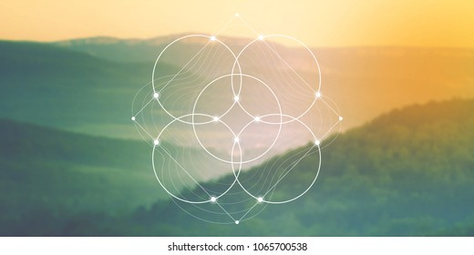 Flower of life sacred geometry web banner. Math, nature, and spirituality in nature. Interlocking circles and triangles hipster illustration in front of photographic background.