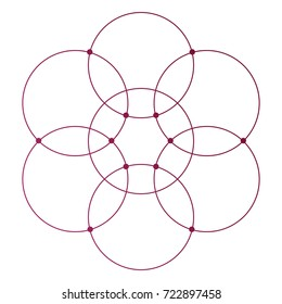 Flower of life scientific tattoo sketch with mystic interlocking circles ancient symbol.