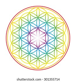 Flower of Life shown as an gently glowing rainbow colored symbol of harmony. Isolated vector illustration on white background.