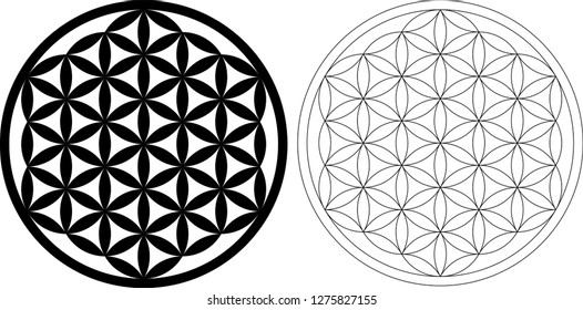 Flower Of Life Vector Black and Outline