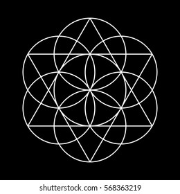 Flower of Life. White Vector Sacred Geometry isolated on black.