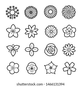 Flower line icon collection, Vector illustration