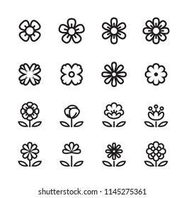 flower line icon set