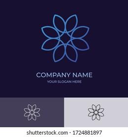 Flower logo design with blue color