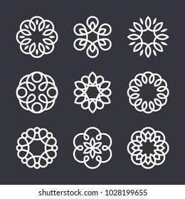 Flower logo design elements in trendy linear style, vector floral icons and elegant lineart monograms