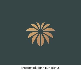 Flower logo design. Palm vector logotype symbol.