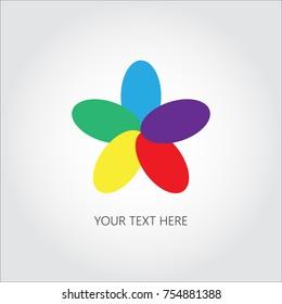 Flower logo. Five color petals icon