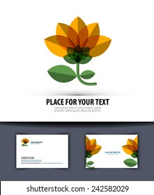 flower. Logo, icon, emblem, template, business card