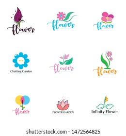 Flower Logo Set Design Vector