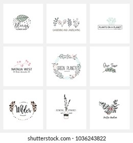 Flower logo templates collection in vector. Handdrawn floral logotypes for a small business branding