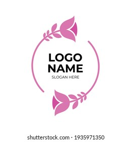 flower logo vector with flat pink color style