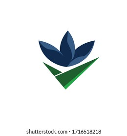 Flower logo very modern and sophisticated elegant with blue and green tone very simple vector