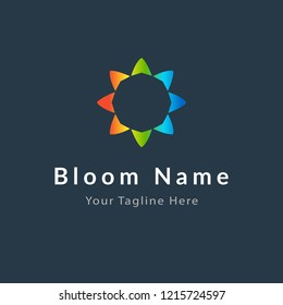 Flower logotype, symbol, corporate design elements. Modern colored icon, abstract logo
