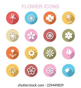 flower long shadow icons, flat vector symbols