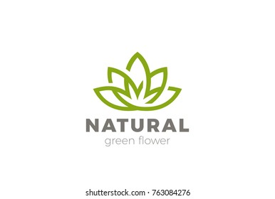 Flower Lotus abstract Logo design vector template. Green Natural Luxury Fashion Logotype. Yoga Health icon.