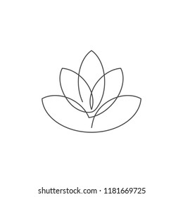 Flower lotus continuous line vector illustration with editable stroke - single line drawing of beautiful water lily for floral design or logo isolated on white background.