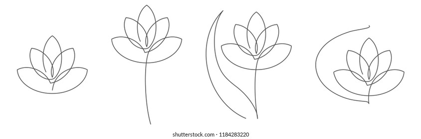 Flower lotus continuous line vector illustration set with editable stroke. Single line drawing of beautiful water lily for floral design or logo isolated on white background.