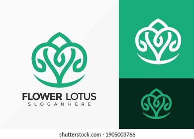 Flower Lotus Jewellery Logo Design, Minimalist Logos Designs Vector Illustration Template