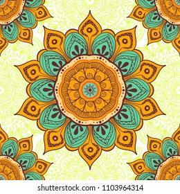 Flower mandala colorful background for cards, prints, textile and coloring books. Seamless pattern